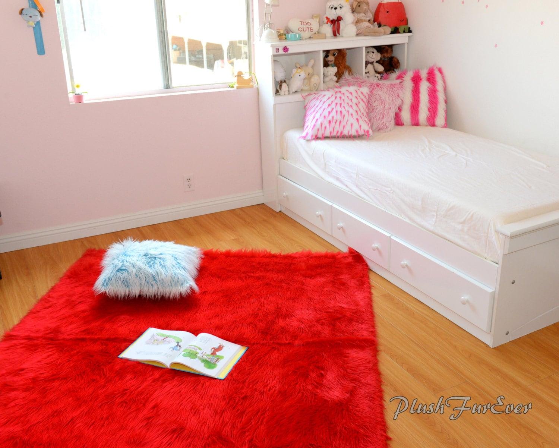 Red Shaggy Faux Fur Throw Rug Carpet Plush Sheepskin