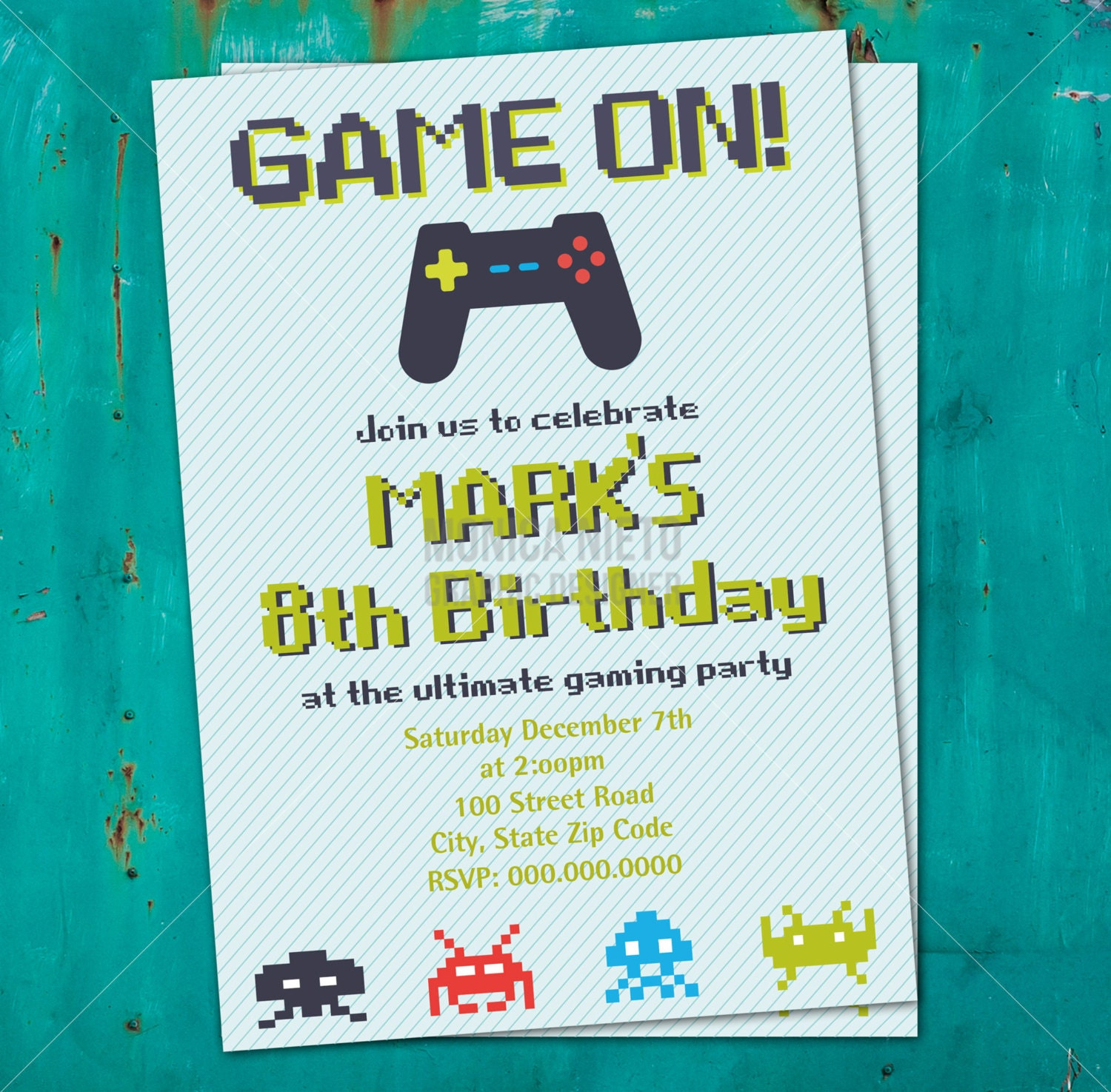 Exhilarating image for free printable video game party invitations