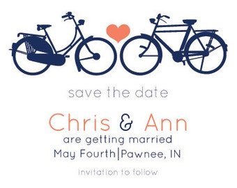 Custom Digital Bicycle Save the Date Card