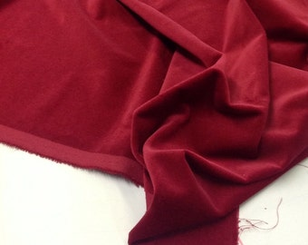 ONE METRE (100x140 cms) of Claret (Red) Cotton Furnishing Velvet by Truly Sumptuous for Curtains etc....