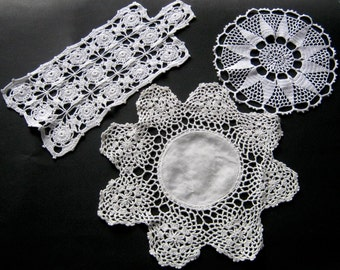 White Doily Lot, 3 Vintage Linens, Instant Collection Wedding Doilies, Round Doily, Retro Wedding Linens, Mixed Doily Lot, Centerpiece Doily