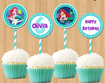 Ariel Cupcake Toppers - Printable Little Mermaid Cupcake Toppers 2 inch Birthday Party Circle Favor Tag Card matches Invitation Decoration