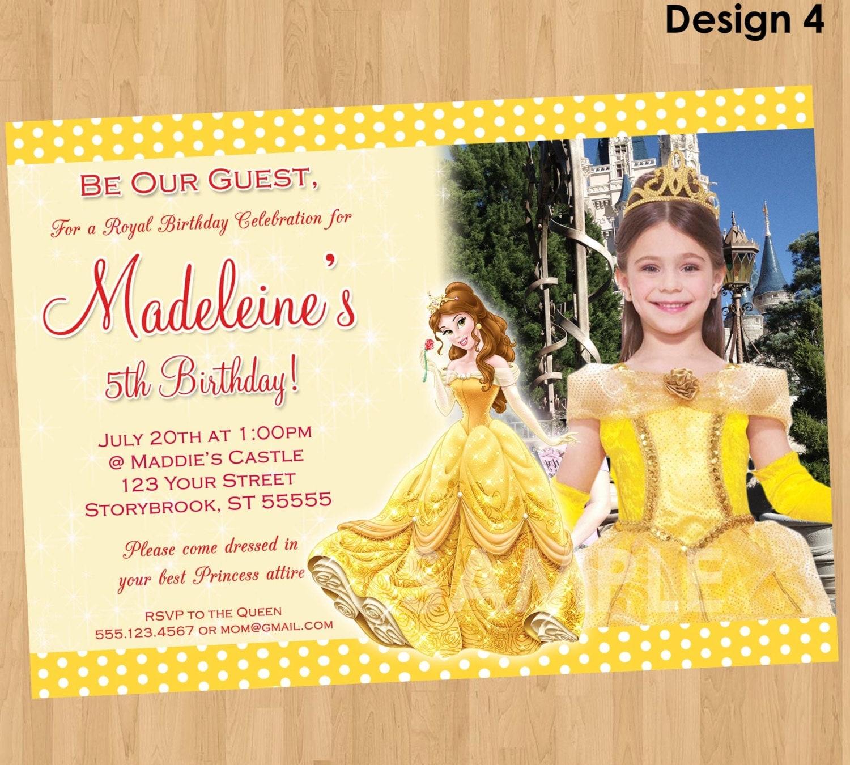 Princess Belle Invitation Beauty and the Beast Invitation