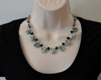Sesame Jasper and Crystal Necklace