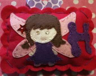 Girl's Personalized Tooth Fairy Pillow. Girl's Tooth Fairy Pillow