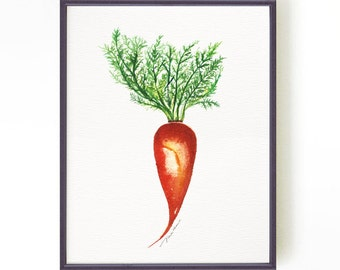 Kitchen art print Kitchen wall art Carrot Watercolor painting Vegetable print Vegetable watercolor art Botanical art print Buy 2 Get 1 Free