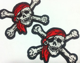 Punk Pirate Skull And Crossbone ( 5 x 7 cm) Embroidered Applique Iron on Patch (AL)