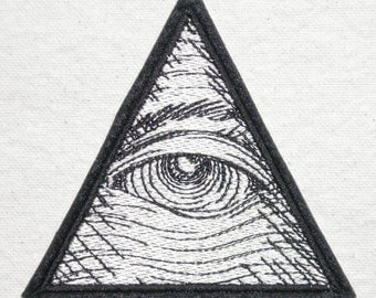 "Eye of Providence, All Seeing Eye, Iron On Patch, Spiritual, 3 1/4"" wide X 3"" high, 100% Embroidered Patch"