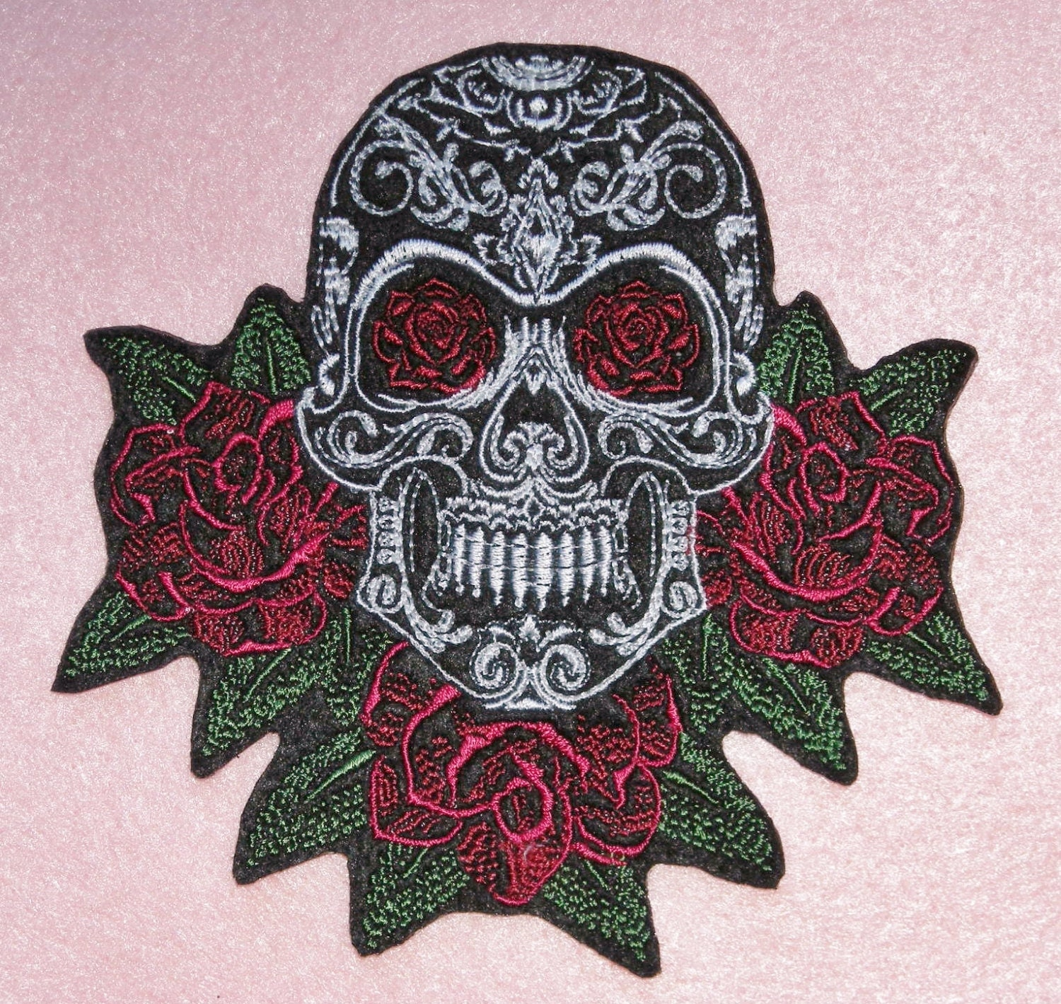 Sugar Skull Iron On Patch Roses Lacy Large 4.75 X