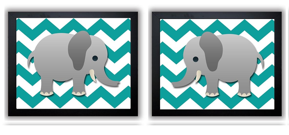 Grey Chevron Grey Turquoise Elephant Nursery Art Nursery Print Set of 2 Elephants Child Art Prints B