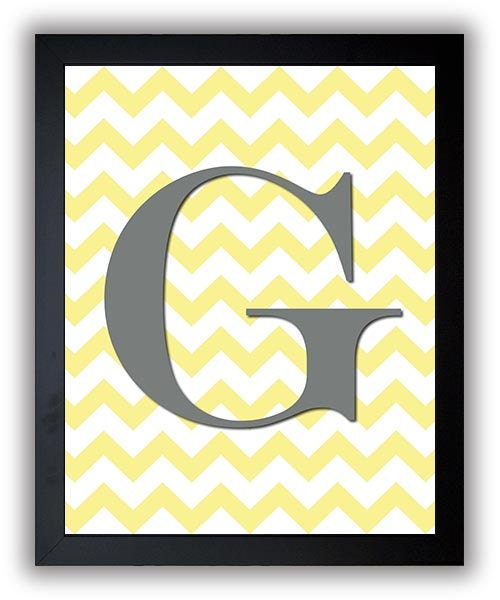 Letter Monogram Print Nursery Art Nursery Baby Art Chevron Yellow Grey Gray Decor Child Baby Art Pri