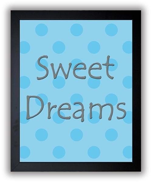 Sweet Dreams Print Nursery Art Nursery Baby Art Polka Dots Blue Grey Gray Decor Child Baby Art Print