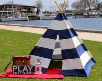 Blue Stripe Kids Teepee Tent, Ready to Ship, Canvas Teepee, Playhouse, Kids Tent, Tee Pee Tent, Teepee, Tee Pee, Kids Teepee, Teepees, Tent