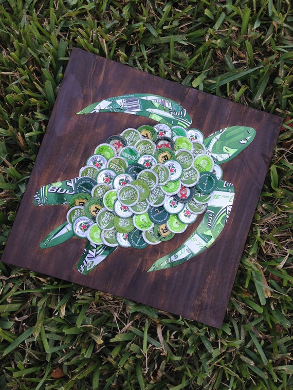 Items Similar To Sea Turtle Beer Cap Art 12 Quot X 12 Quot Signed