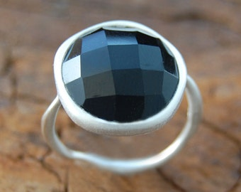 Silver Black Spinel Ring, Silver Ring, Statement Ring, Black Gemstone Ring, Handmade Gemstone, Natural Stone Ring, Large Stone Ring, Spinel