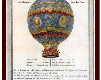 Print Vintage Victorian History  Art Print: Balloon Illustration Art Print