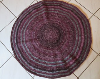 "HAND CROCHETED RUG, Acrylic and Peruvian Wool, 112 "" around, 37"" Across, Gray, Dark Plum, Dark Pink, Maroon Tones, Circular, 3 feet across"
