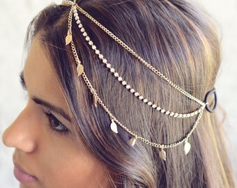 THE KARMA - NEW Gold Leaves Rhinestone Indian Boho Bohemian Headband  Festival Hair Chain Accessories Flower Crown Gypsy Spring Christmas