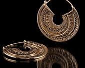 Ornate Rajasthani Brass Earrings, Tribal Jewelry, Brass Earrings, Ornate Brass Earrings, Tribalik (Code 54)