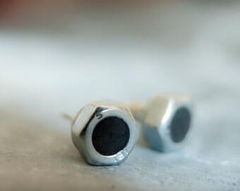 Mens Earrings, Screw Earrings, Matte Black Earrings With Bolt, Small Ear Studs, Mens Studs, Black Post Earrings, Simple Earrings,