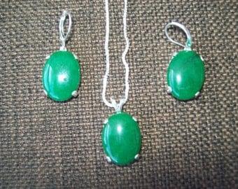 SALE! Kelly Green Quartz Pendant and Earrings Set in Sterling Silver