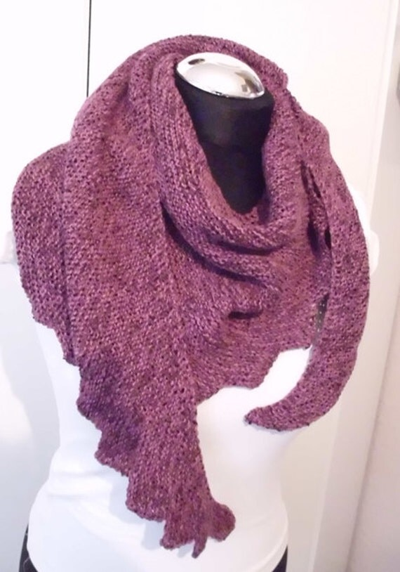 hand knitted dragons tail scarf triangle asymetrical by NaRoKnit