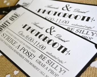 photobooth ticket wedding favor