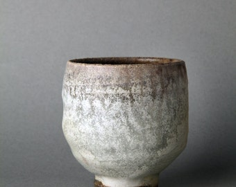 Anagama wood fired yellow glaze natural fly ash on stoneware guinomi matcha, fired to cone 13