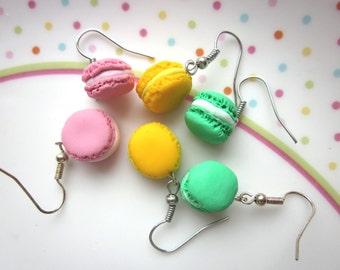 Polymer Clay Mini Macaron Earrings, Customised Polymer Clay Macaroon Jewellery, Polymer Clay Food Earrings,  Kawaii Unique Colorful Earrings