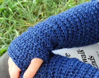 Blue Hand Warmers, Long Crochet Arm Warmers, Slouchy Fingerless Gloves, Gauntlets, Mittens, Women's Wrist Warmers