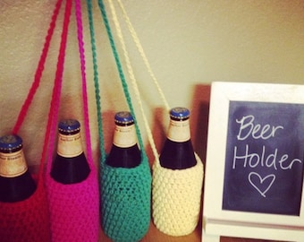 Crochet beer cozy necklace