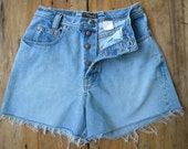 High Waisted Cut Offs / Vintage GAP Jeans Button Fly Cut Offs / Cut Off Denim Shorts / 28 inch Waist