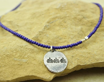 Deep royal blue glass seed beads and sterling silver unique handcrafted necklace
