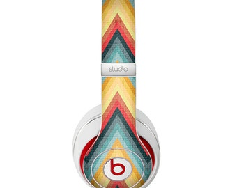 The Orange & Blue Chevron Textured Skin for the Beats by Dre Headphones (All Versions Available)