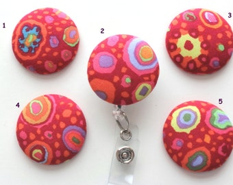 Bright Colorful Abstract Circles ID Badge Reel/Nurse/Doctor/Medical/Teacher/School/Office/Red/Pink/Orange/Blue