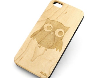 W25 Real Wood W Plastic Case Cover For Iphone 4 4s Cute Owl