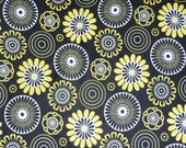 Mellow Yellow, for Red Rooster Fabric, By the Yard, Yellow, Black and White, Geometric Flowers