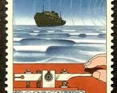 Morse Key, Scheveningen Radio -Handmade Framed Postage Stamp Art 15813AM