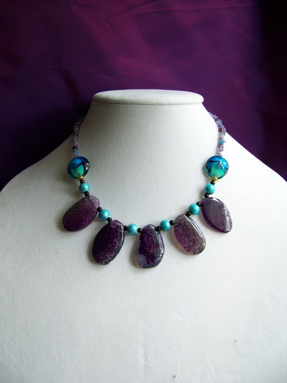 """Purple Crackle Agate & Turquoise Beaded Necklace, Wave beaded Necklace, 16"""" Stone Necklace, #38"""