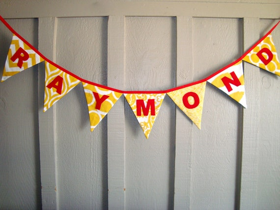 Yellow Name Banner - Yellow Fabric Bunting - Custom Name Banner - yellow name sign - gold banner -banner with name - customized banner