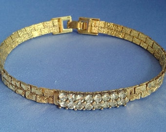 Luxurious Clear Rhinestone (2 row) on Woven Gold Bracelet