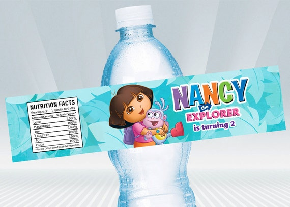 Dora Water Bottle Label