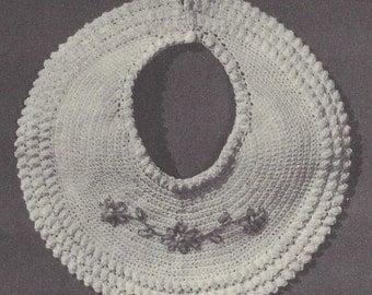 Pretty Baby Bib, Vintage Crochet Pattern, INSTANT DOWNLOAD PDF