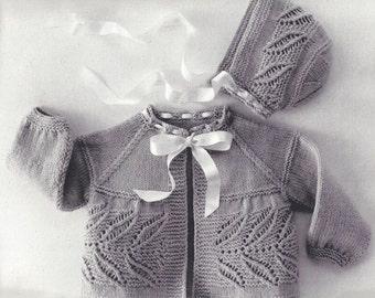 Infant Sacque Set, Baby, Vintage Knitting Pattern, INSTANT DOWNLOAD PDF