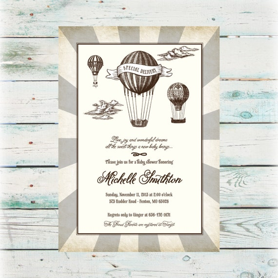 Hot Air Balloon Baby Shower Invitation Digital File