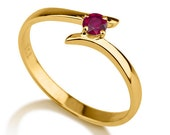 Twist Ruby Ring, 14K Gold Ring Solitaire Engagement Ring, 0.20 CT Ruby Ring Vintage, Unique Engagement Ring, Art Deco Jewelry