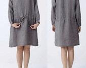 089---Women's Round Neck Long Sleeve Gray Linen Dress, Navy Linen Long Sleeve Dress. Raglan Sleeves, Unlined.