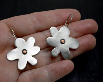 flower like earrings,silver earrings,for her, for teens