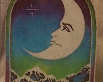 Vintage 1990s Retro Moon Over Mountains Retro Style Sticker/Decal-Free US Shipping