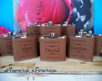 8 Groomsmen Flask Set Personalized